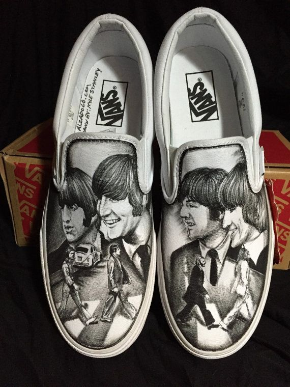 ebce8f0c321e1 Hand drawn shoes The Beatles Abbey Road Slip-on Painted Canvas S ...