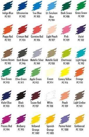 Prismacolor 36 Color Pencil Set No Sa92885 Color Chart Color