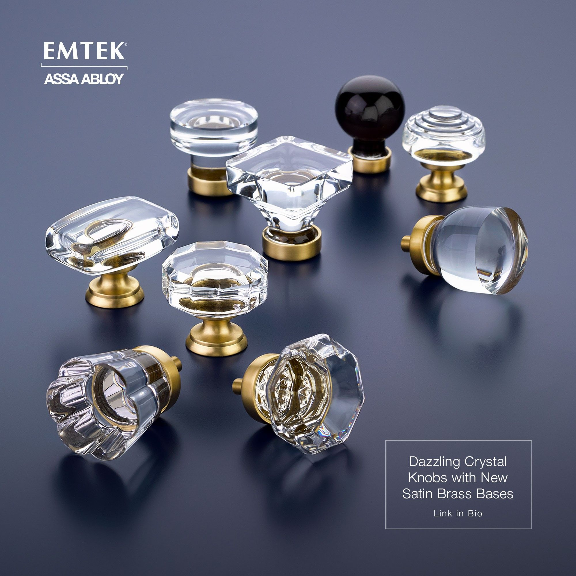 Emtek' Crystal Cabinet Knobs With Satin Brass Finish