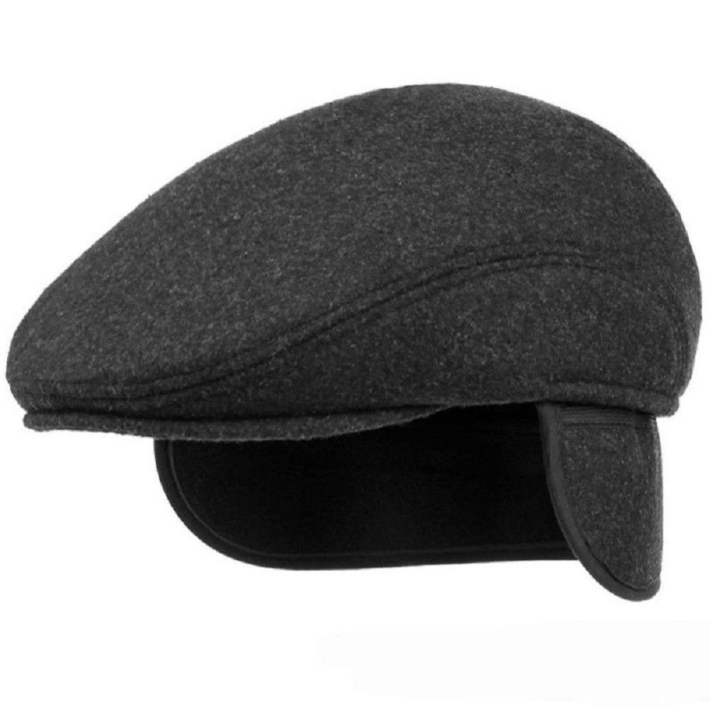 6e04375d78d25 Winter Warm Hat with Ear Flap Men Solid Retro Beret Thick Ivy Cap Wool Felt  Hats  Unbranded  Flatcap  Mensberetcap