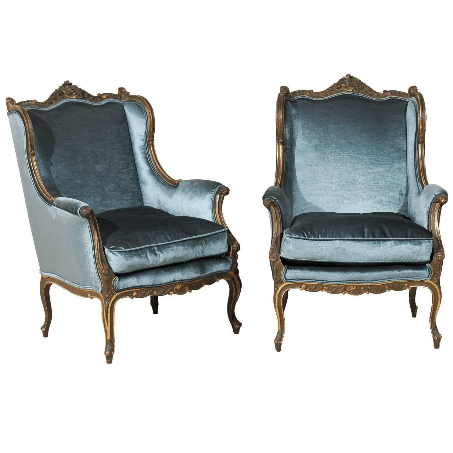 Pair of Late 19th Century Louis XV Style French Bergères