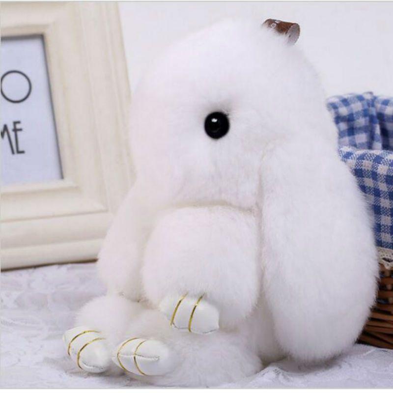 23edc56f47 Cute Mini Fluffy Bunny Keychain Rex Rabbit Fur Pompoms Key Chain Fur Pom  Pom Keyring Bag
