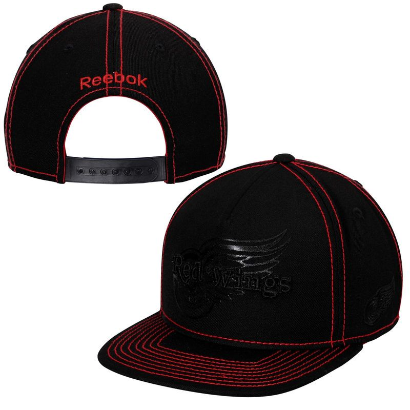 new arrival 2208a a008b Detroit Red Wings Reebok Cross Check Snapback Hat - Black ...