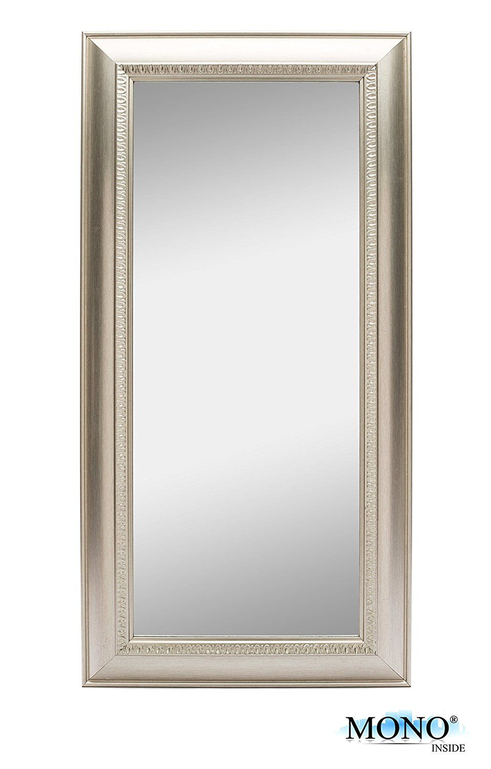 Amazon Com Monoinside Framed Decorative Wall Mounted Mirror Classic And Vintage Style Plastic Frame 24 Quot Wall Mounted Mirror Mirror Silver Wall Mirror