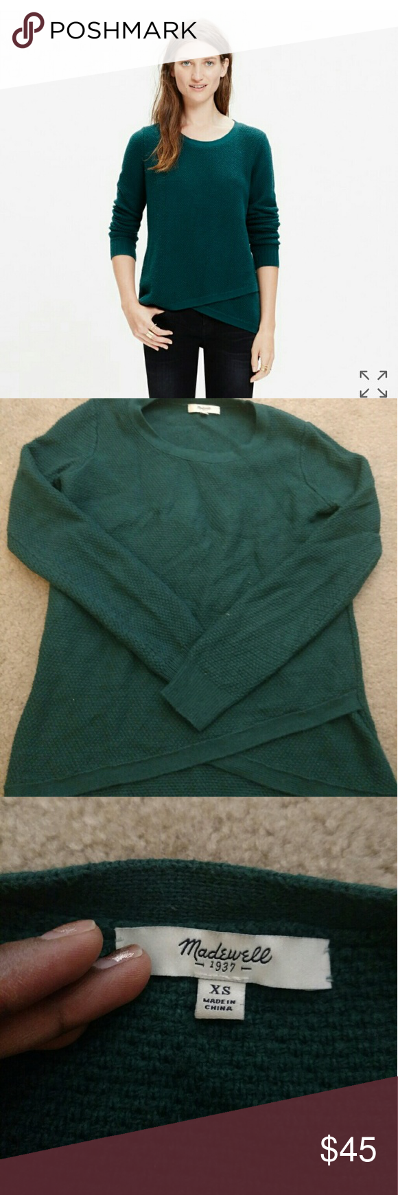 Madewell Feature Pullover Sweater This Madewell sweater is a deep emerald green color, with a cross over hem in the front. Its very warm, and fits like a true XS. It was too tight in the arms and shoulders for me. No longer sold. Smoke free and pet free home. Bundles welcome Madewell Sweaters Crew & Scoop Necks