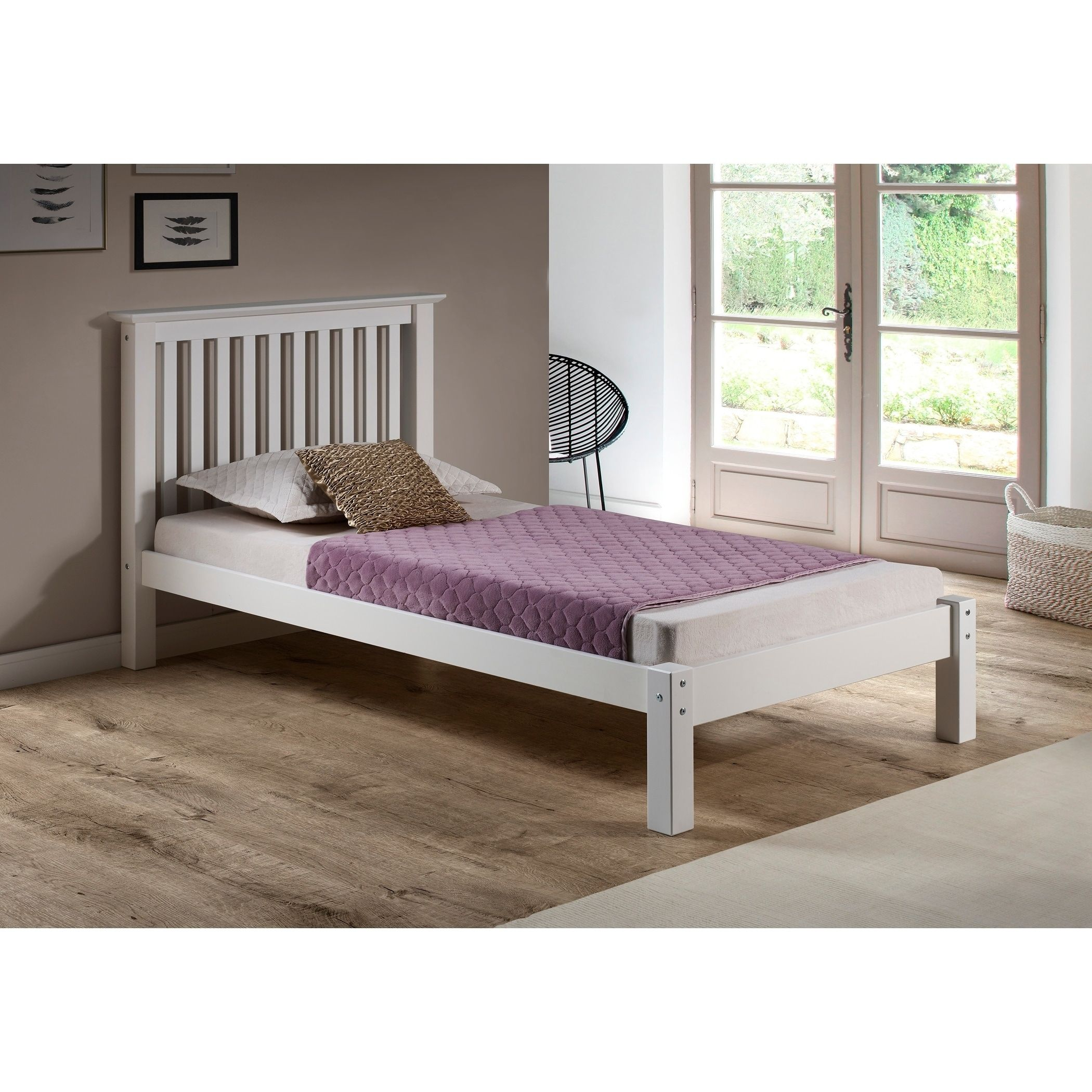 Girona Solid Wood Twin Bed White Overstock Com Shopping The