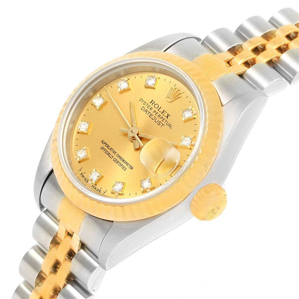 rolex datejust gold steel diamond hour markers womens watch