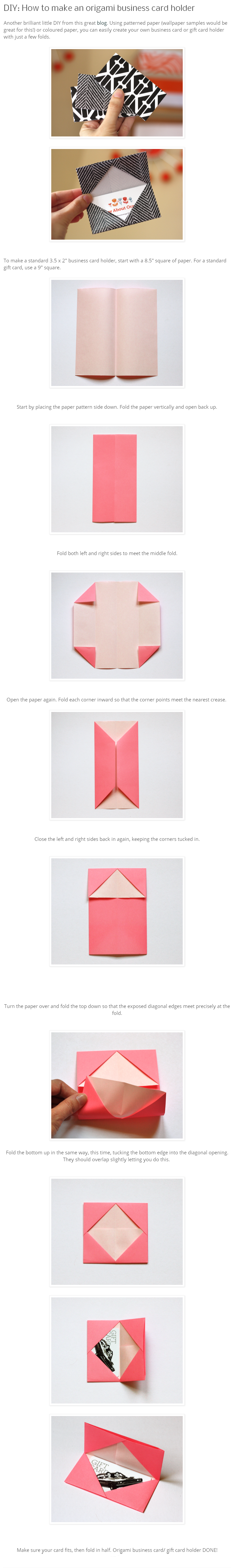DIY origami business card holder | My Style | Pinterest | Diy ...
