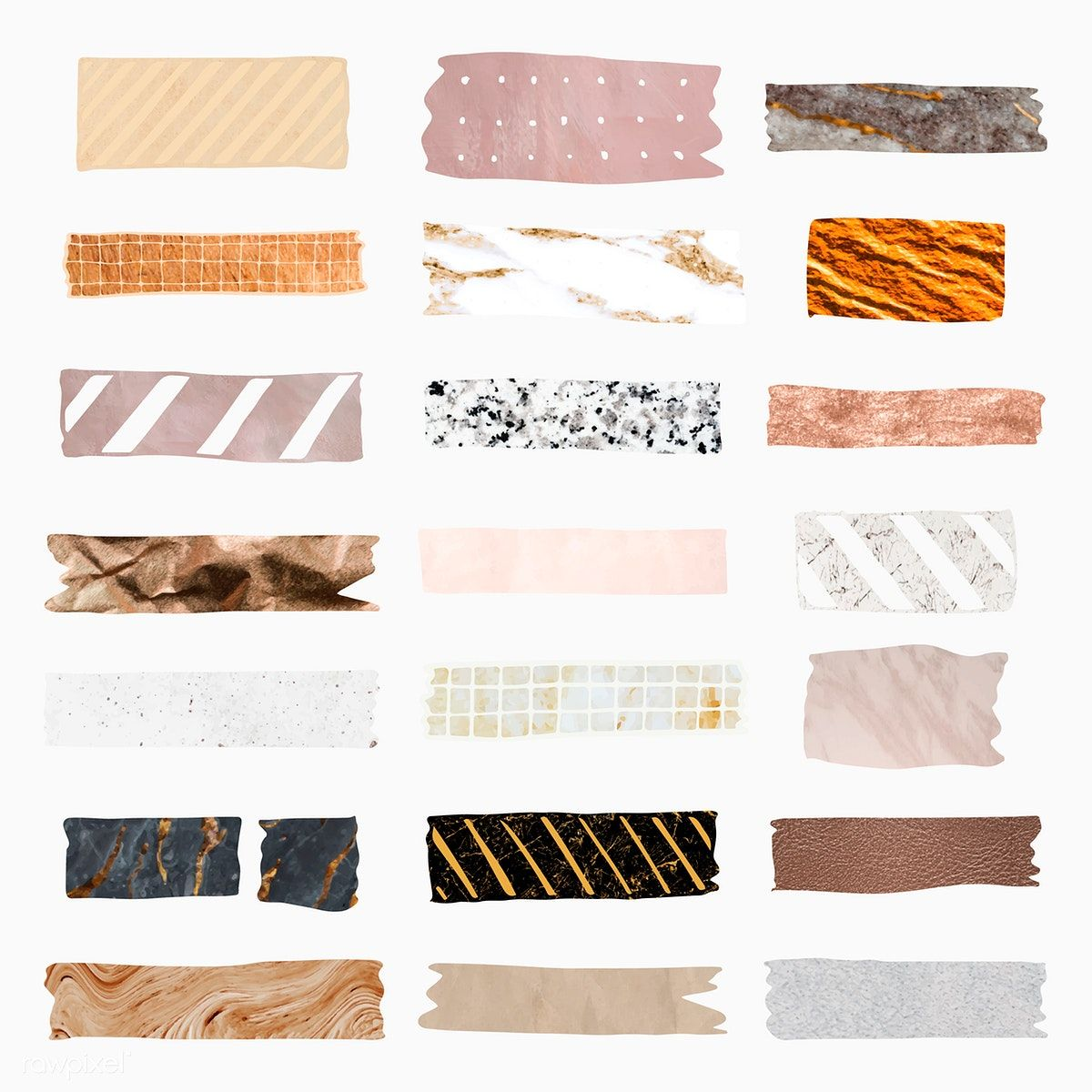 Download Premium Vector Of Collection Of Washi Tape Vectors 2100822 Washi Tape Scrapbook Stickers Printable Washi