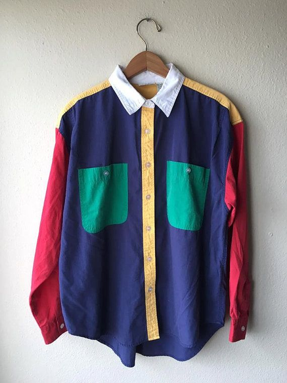 08e2f8e76 Womens LARGE 90s Colorblock Buttondown Shirt Womens Large // 90s ...