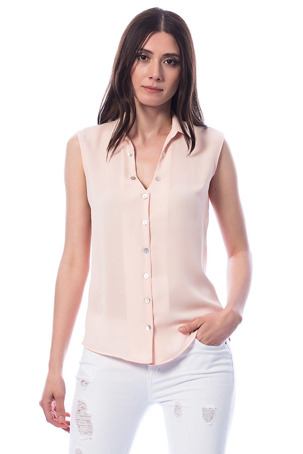 Somon Rengi Sifir Kol Bayan Gomlek Modelleri Sik Kombinler Icin Moda Yeni Moda Gomlek
