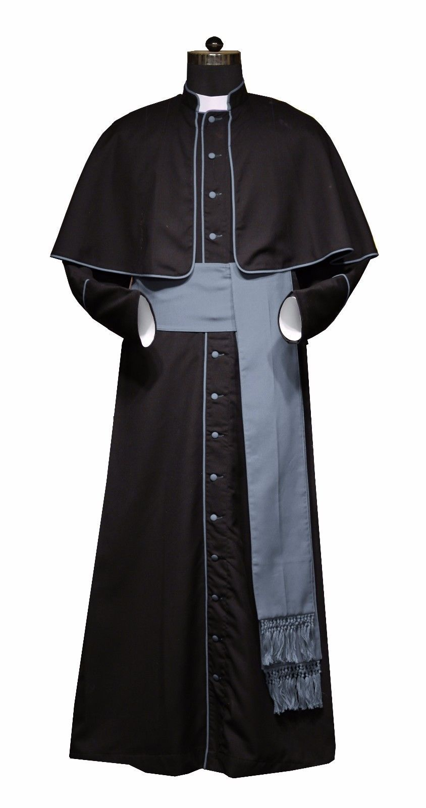 c343eed01e Black cassock for clergy priests   Black cassock with Grey trims   attached  cape