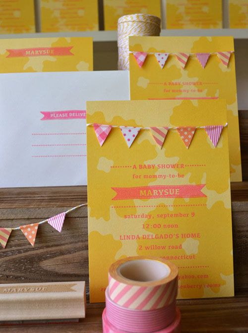 DIY Bunting for card or invitation  [Baby shower invitation, Shabby Chic.]