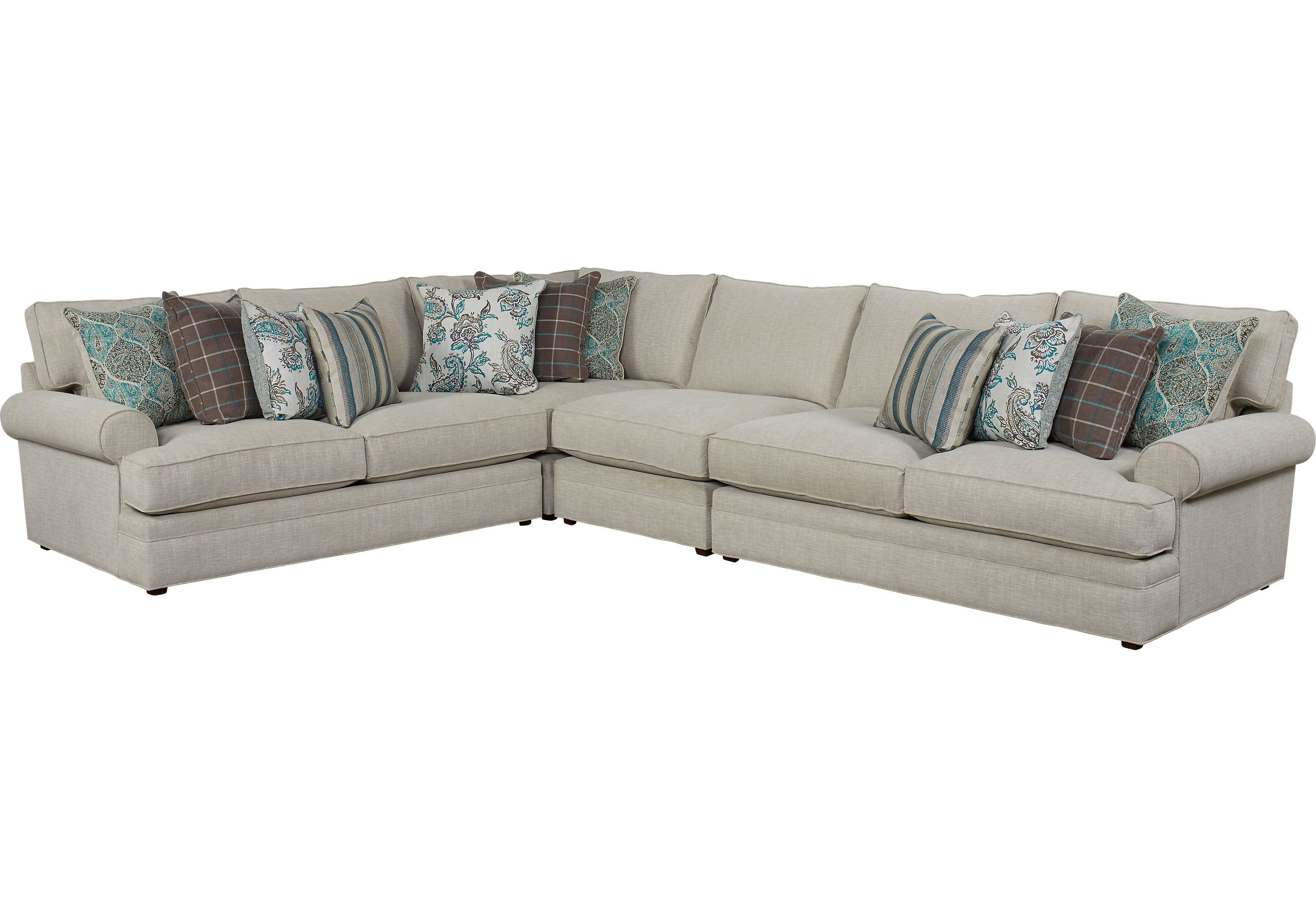 Cindy Crawford Home Lincoln Heights Stone 4 Pc Sectional 2488 0