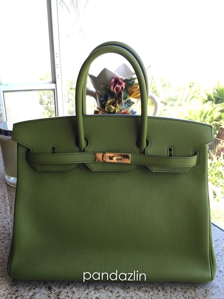 4c9acb43e55 100% Authentic Hermes Birkin 35 Togo Two-Tone Kiwi Ultraviolet Horseshoe  Stamp  HERMS  EveningBag