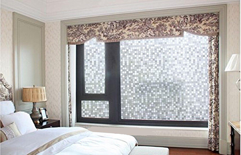 Bathroom window decor  coavas d selfstatic decorative glass film bathroom mosaic privacy