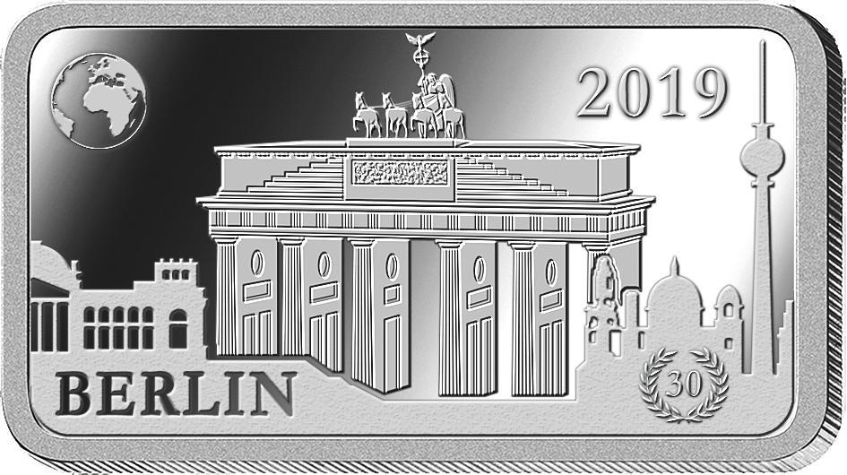 """Die Barrenmünzen """"Wahrzeichen der Welt"""" aus reinstem Silber - Startlieferung """"Berlin - Brandenburger Tor""""!"""