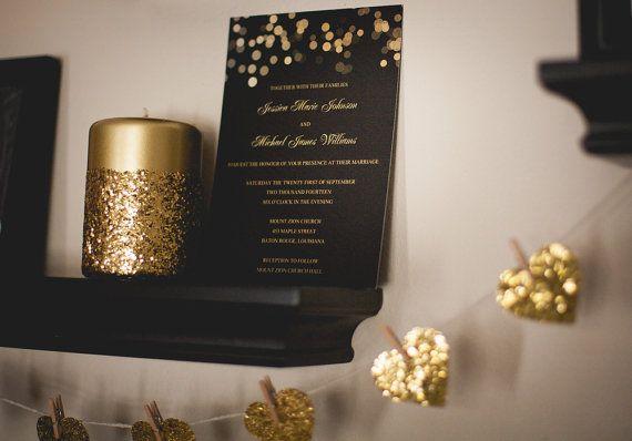 Gold Glitter Confetti Wedding Invitations #gold #glitter #wedding #invitations
