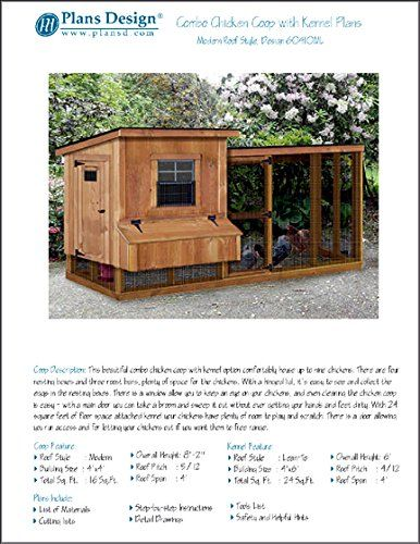 Backyard Chicken Coop Plans with Kennel / Run, Modern ...