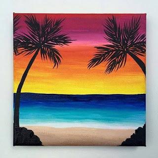 صور لرسم لوحات الغروب Beach Art Painting Beach Canvas Paintings
