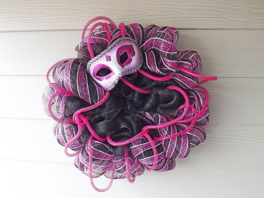 Mardi Gras Pink and Black Deco Mesh Wreath by NOLACraftsbyDesign on Etsy