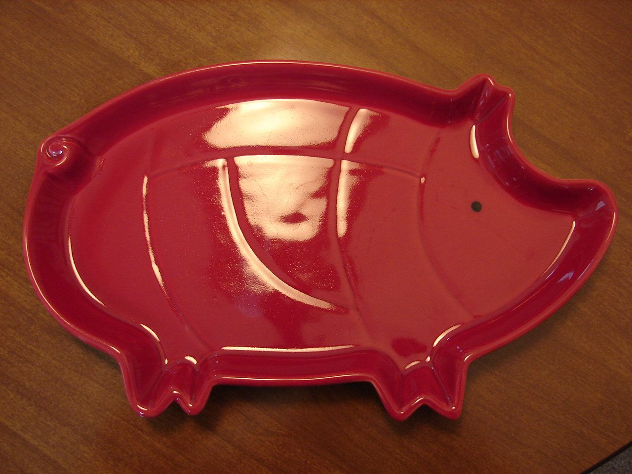 Vintage Red Pig Tray Plate Shaped Like A Pork Cut