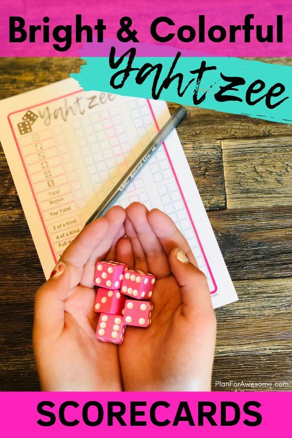 Free Printable YAHTZEE Scorecards - Bright & Colorful for ...