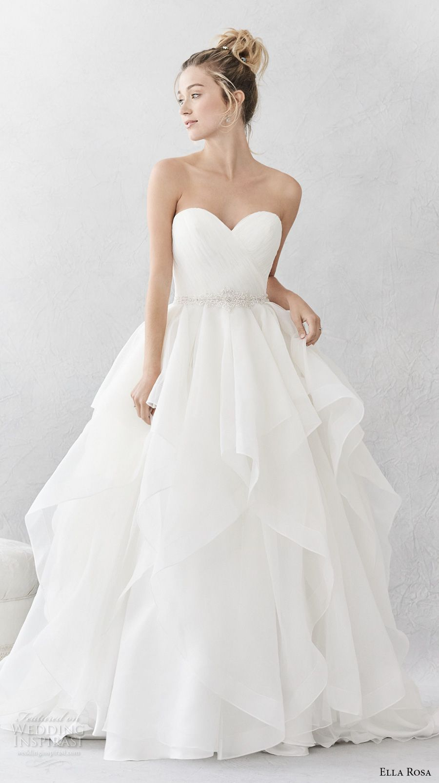 Ella Rosa Spring 2017 Bridal Strapless Sweetheart Neckline Wrap Over Bodice Simple Layer Skirt Ball Gown A Line Wedding Dress Open Back Chapel Train 376
