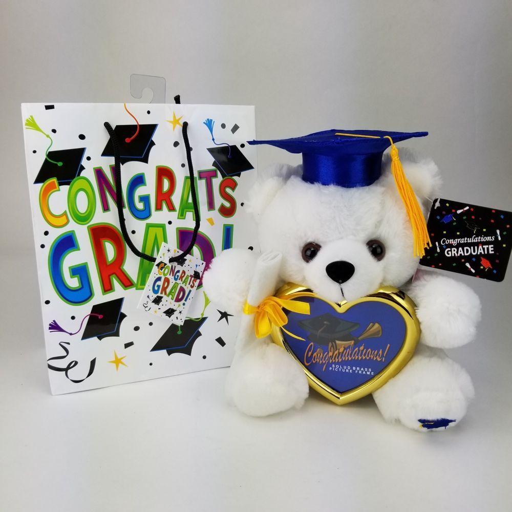 8 Graduation Plush Teddy Bear Blue Cap Diploma Holding Heart