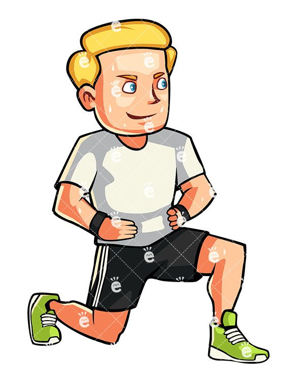 Caucasian Man Doing Lunges Cartoon Vector Clipart Friendlystock Aerobics Aerobic Exercise Lunges