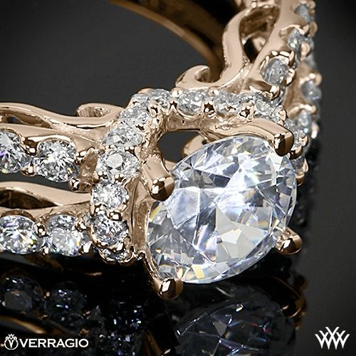 Rose gold - Verragio 4 Prong Pave Wrap Diamond Engagement Ring from the Verragio Insignia Collection.