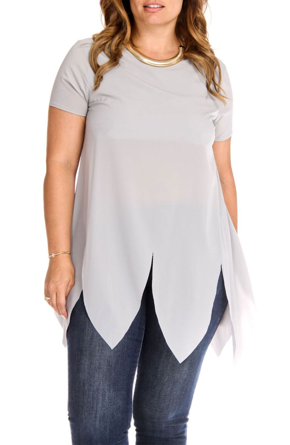 BellaBerry USA - Asymmetric Semi-Sheer Tunic in Gray
