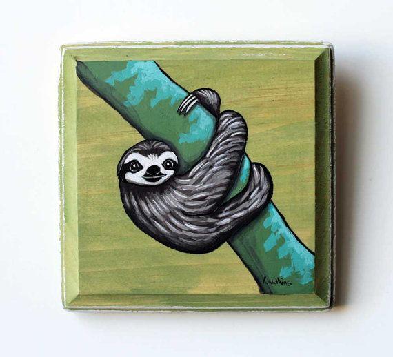 Sloth Original Wall Art Acrylic Painting On Wood By Karen Etsy Original Wall Art Acrylic Paint On Wood Small Paintings