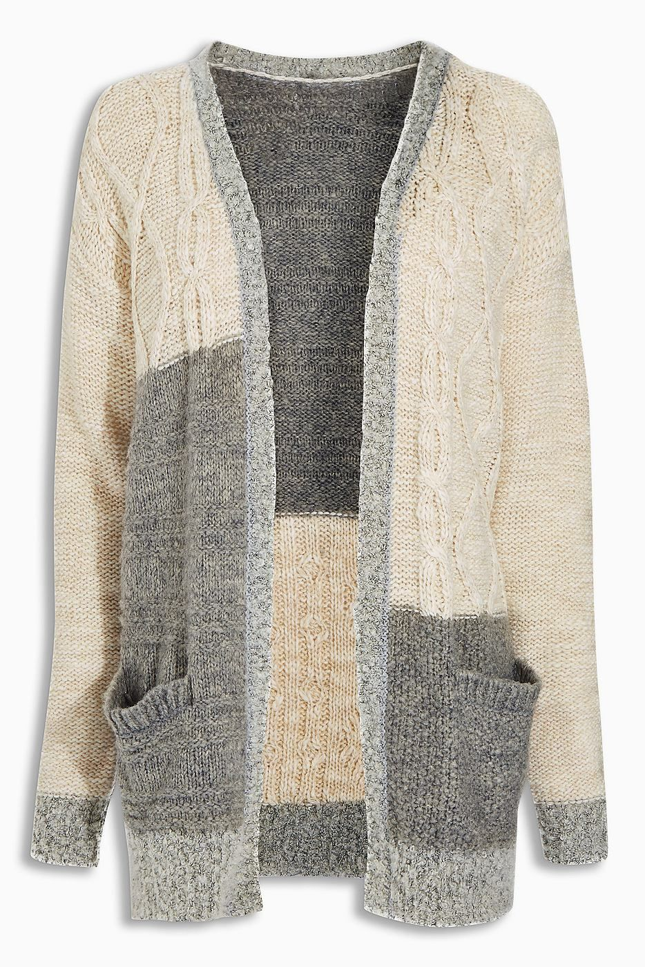 a5c2a87f2d916 Strickjacke mit Zopfmuster im Patchwork-Look 81 % Polyacryl, 16 % Wolle, 2
