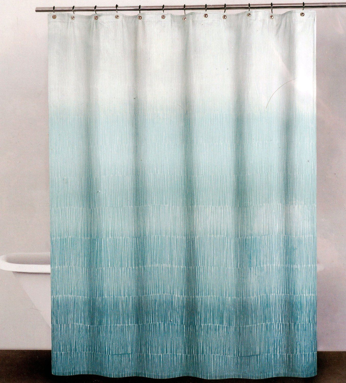 Amazon Com Dkny Fabric Shower Curtain Aqua Blue And