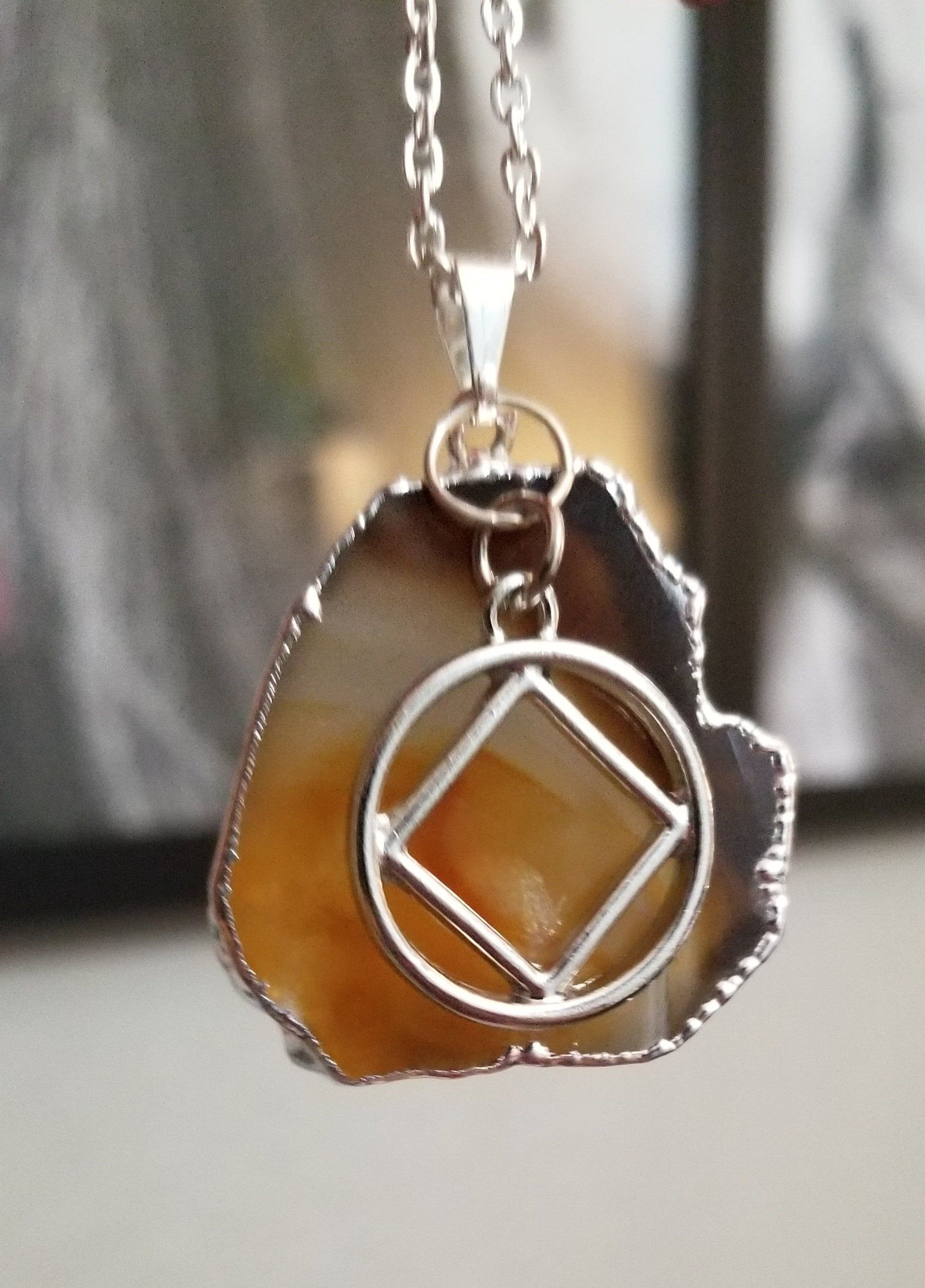 Silver Plated Agate Slice With Narcotics Anonymous