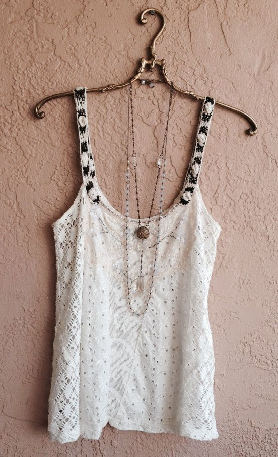 Bohemian lace and crochet patchwork beaded camisole