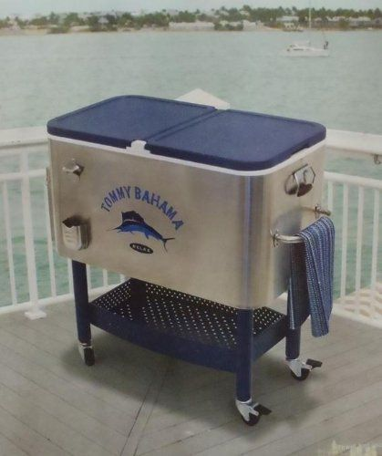 Tommy Bahama 100 Qt Stainless Steel Rolling Cooler : Hardshell Chest Coolers  : Patio, Lawn