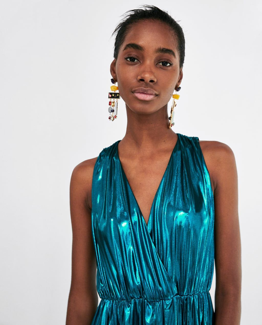 0beaeded Image 2 of METALLIC FLOWING DRESS from Zara | FASHION || SS18 ...