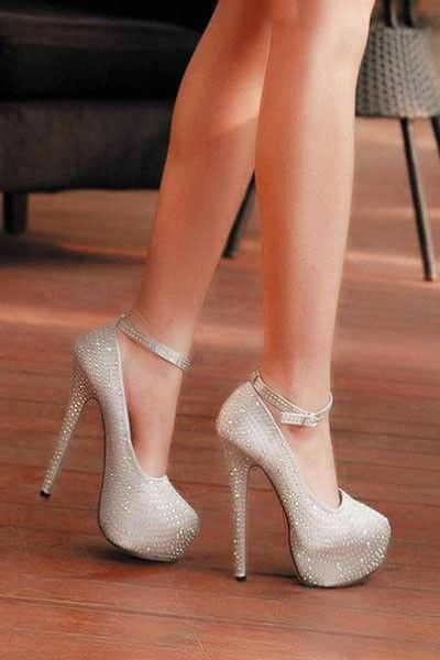 Silver Faux Pu Rhinestone Ankle Strap Platform Heels   Fashion High Heels  Shoes 09d26e4bac30