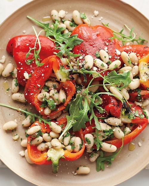 Roasted Red-Pepper Salad with Anchovy White Beans Recipe