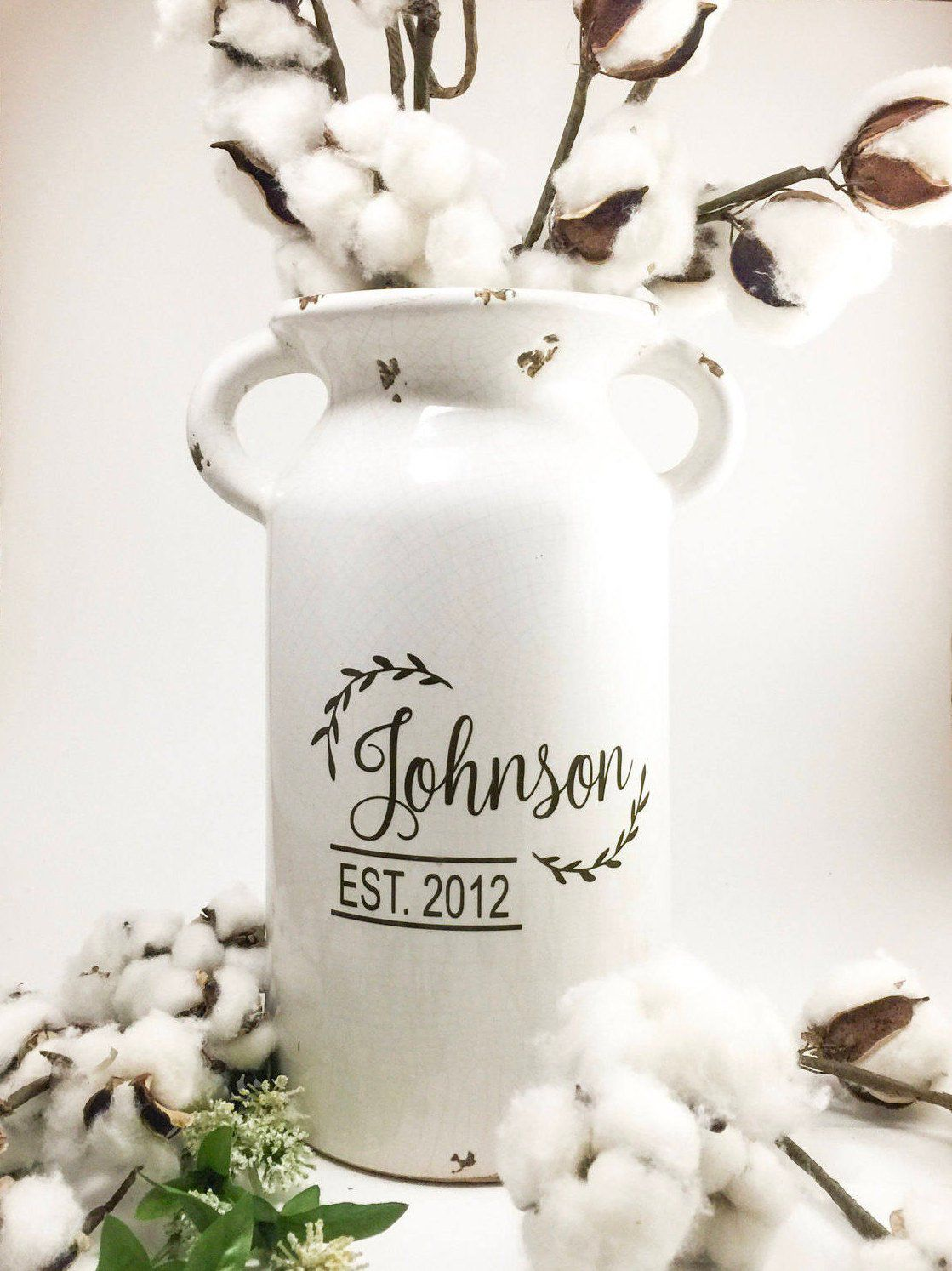 Farmhouse style Milk Can, Personalized Ceramic Vase for