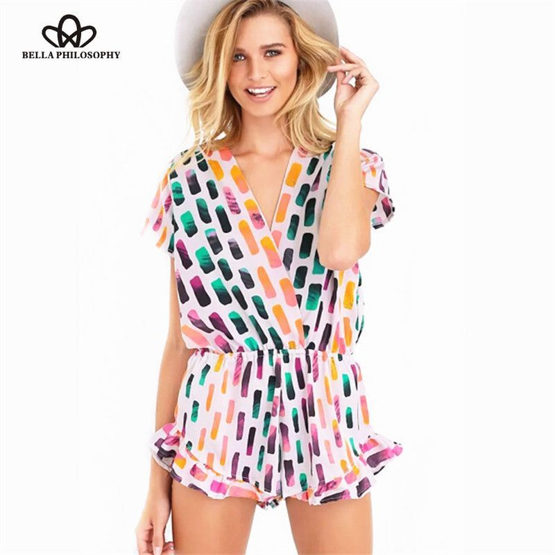 Summer new bold colorful printing Geometry print V neck short sleeve jumpsuit shorts