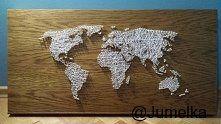 mapa świata - string art