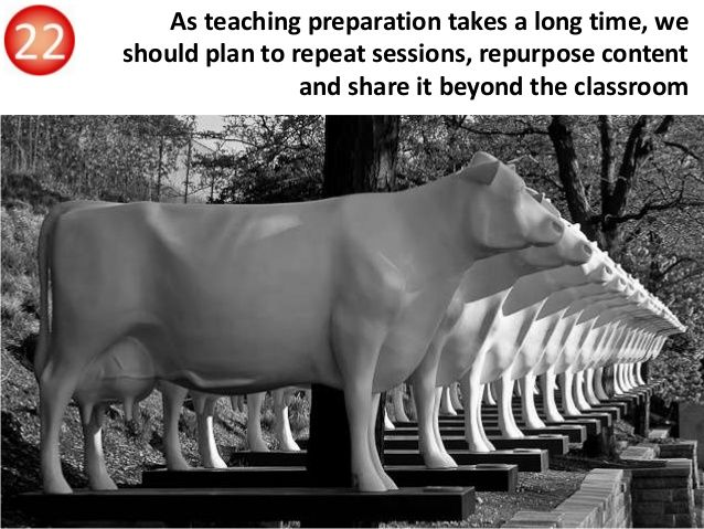 As teaching preparation takes a long time, we should plan to repeat sessions, repurpose content and share it beyond the cl...