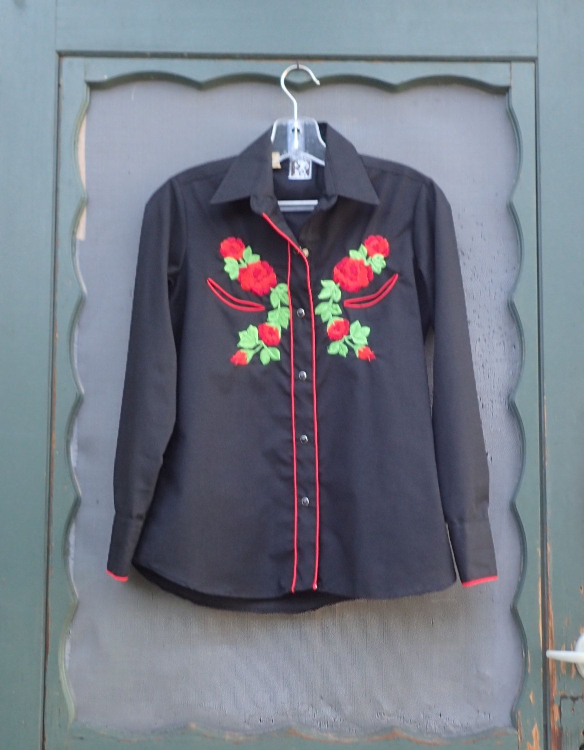 Vintage Woman's KARMAN Rose Embroidered Black Western Shirt  - Black Pearl Snap Cowgirl Shirt S-M by delilahsdeluxe on Etsy