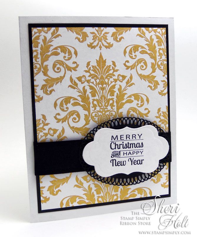 The Stamp Simply Ribbon Store - Stamps: JustRite Grand Damask Background Cling, JustRite Signs of Christmas Clear Stamps Dies: Spellbinders Elegant Ovals die, Spellbinders Petite Labels One D-Lites die  - designed by Sheri Holt