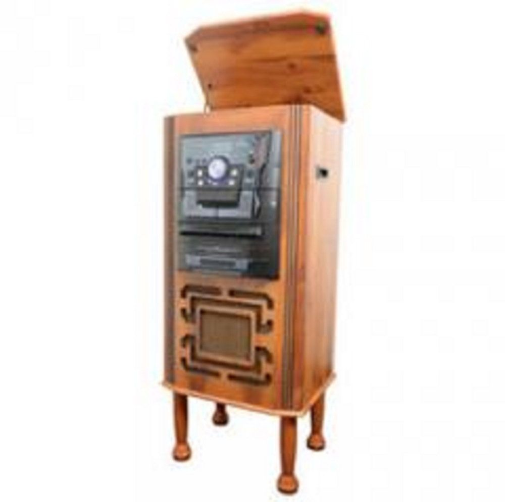 Floor Standing Retro Vintage Turntable Entertainment Center With CD, AM/FM  Radio,iPod