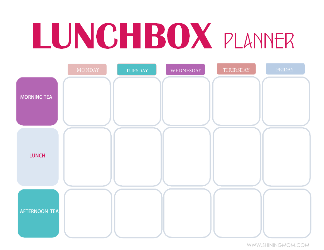 Free Printable Easy 5 Day Lunch Box Planner