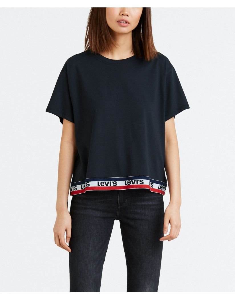 96648a84c Add some style to your everyday with the Women's Graphic J.V T-shirt by  Levi's. Proving to be fully on trend with the branding trend, this top  makes the ...